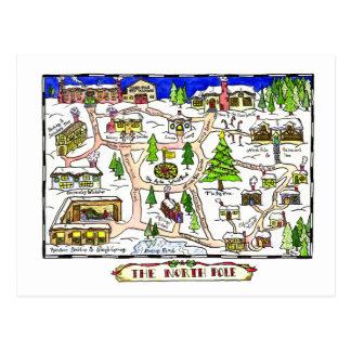 Cartão do Natal do mapa do Pólo Norte