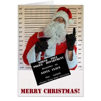Cartão do Natal do Mugshot de Papai Noel!
