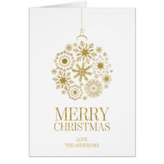 Cartão do Natal do ornamento do floco de neve do