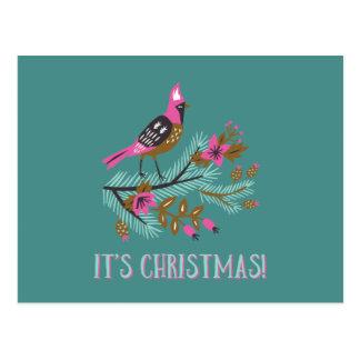 Cartão do Natal do pássaro do estilo do vintage