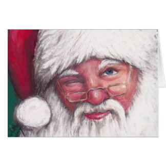 Cartão do Natal do piscar os olhos do papai noel