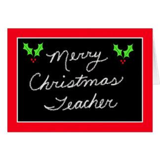 Cartão do Natal do quadro-negro para o professor