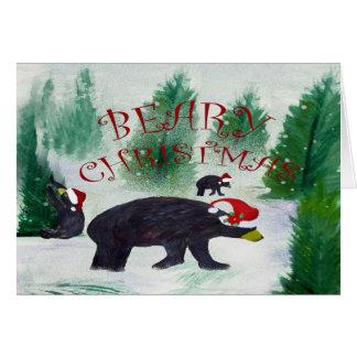Cartão do Natal do urso preto de Beary
