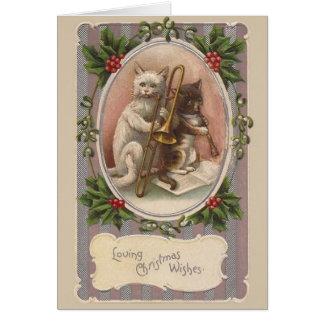 Cartão do Natal dos gatos do vintage