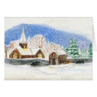 Cartão do Natal/feriado: Aguarela nevado da vila