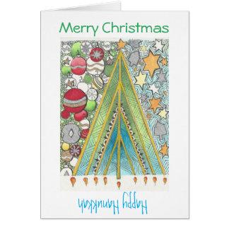 Cartão do Natal/Hanukkah (Natal acima)