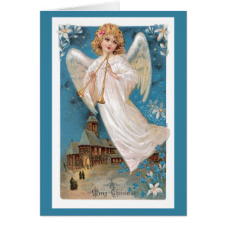 Cartão do natal vintage - anjo do Feliz Natal