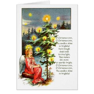 Cartão do natal vintage da árvore de Natal de O