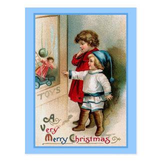 Cartão do natal vintage da compra da janela