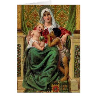 Cartão do natal vintage de Jesus do bebê de