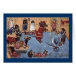Cartão do natal vintage do Dachshund