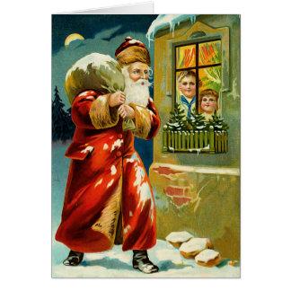 Cartão do natal vintage do papai noel