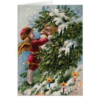 """Cartão do natal vintage do """"visco"""""""