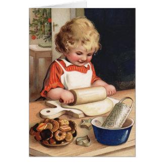 Cartão do natal vintage dos biscoitos do Natal