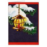 Cartão do natal vintage - lanterna do feriado