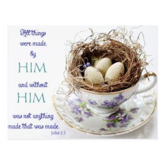 Cartão do ninho do pássaro da escritura do 1:3 de