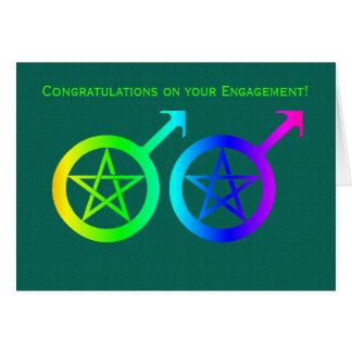 Cartão do noivado de Wiccan do orgulho gay