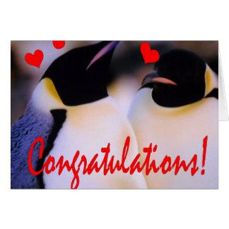Cartão do noivado do amor dos pinguins de