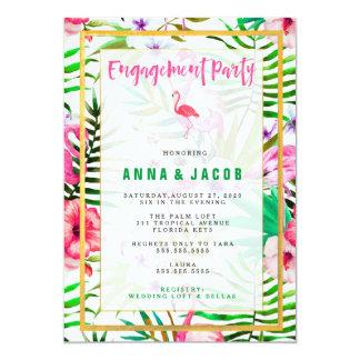 Cartão do noivado do flamingo de 311 aguarelas
