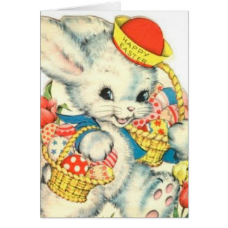 Cartão do nostálgico do vintage do coelho de felz