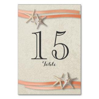 Cartão do número da estrela do mar e da mesa da