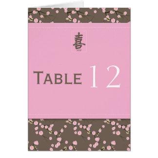 Cartão do número da mesa da flor de cerejeira
