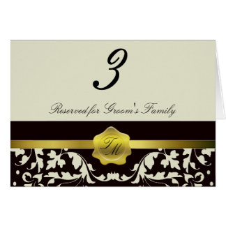 Cartão do número da mesa da recepção de casamento