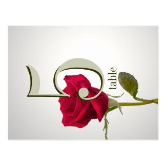 Cartão do número da mesa da rosa vermelha