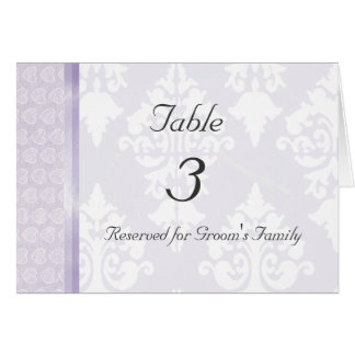 Cartão do número da mesa do casamento da lavanda
