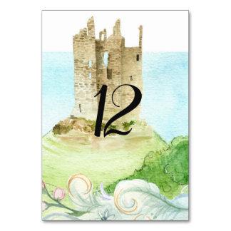 Cartão do número da mesa do casamento do castelo