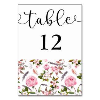 Cartão do número da mesa do caso do país
