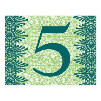 Cartão do número da mesa do damasco do verde do