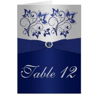 Cartão do número da mesa do marinho e da prata