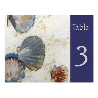 Cartão do número da mesa dos escudos do mar da