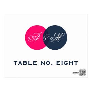 Cartão do número da mesa dos monogramas do gêmeo