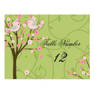Cartão do número da mesa dos pássaros da flor de
