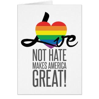 Cartão do ódio do amor não (arco-íris)
