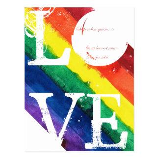 Cartão do orgulho gay com bandeira do arco-íris
