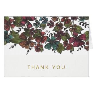 Cartão Do ouro cor-de-rosa floral do vinho da aguarela
