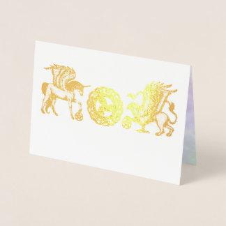 Cartão do ouro de Griffon do unicórnio