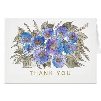 Cartão Do ouro floral do rosa do azul da aguarela