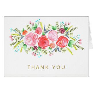 Cartão Do ouro floral do rosa do rosa da aguarela