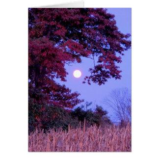 Cartão do outono com Lua cheia, carvalho de telha