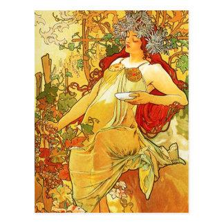Cartão do outono de Alphonse Mucha
