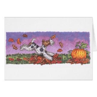 Cartão do outono do Fox do fio com envelope branco