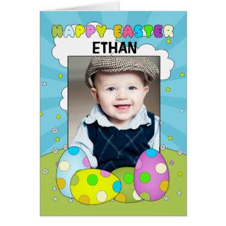 Cartão do ovo da páscoa da foto com ovos e sala pa