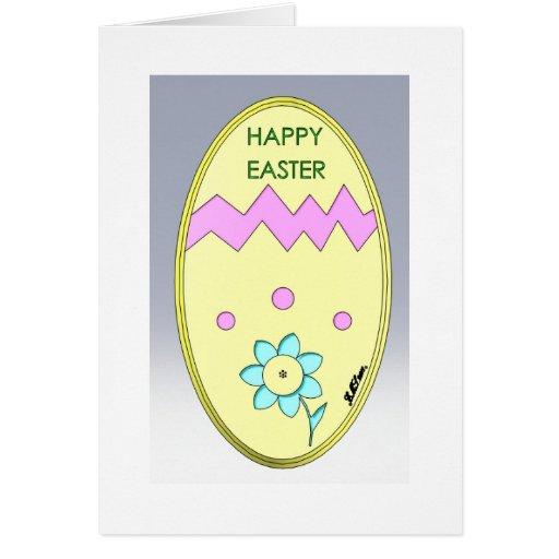Cartão do ovo de felz pascoa com a flor da cor do