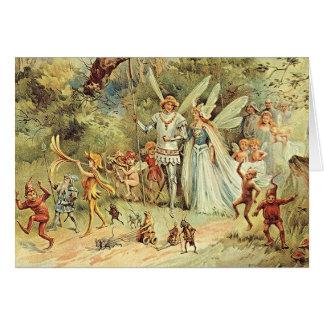 Cartão do Pagan do rei e da rainha Fae do país das