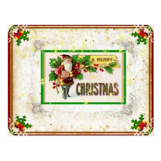 Cartão do papai noel do feriado do pergaminho do cartão postal