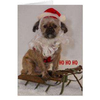 Cartão do papai noel do filhote de cachorro